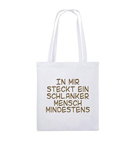 Comedy Bags - In mir steckt ein schlanker Mensch mindestens - Jutebeutel - lange Henkel - 38x42cm - Farbe: Schwarz / Silber Weiss / Hellbraun