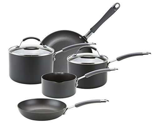 Meyer Hard Anodised 5 Piece Induction Compatible Cookware Set, Hard-Anodized Aluminum, Black, Set of 5