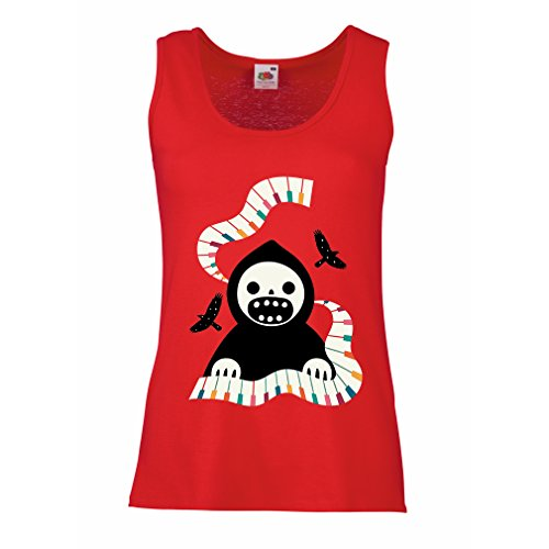 Damen Tank-Top Halloween horror nights - The Death is playing on piano - cool scarry design (Small Rot (Diy Tank Girl Kostüm)