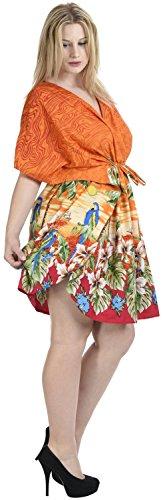 La Leela kimono feuille floral col v likre lisse court bikini couvrir haut caftan orange coucher de soleil
