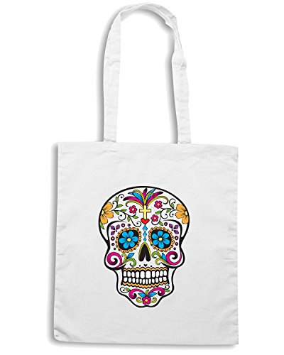 T-Shirtshock - Borsa Shopping T0772 mexico skull vintage Bianco