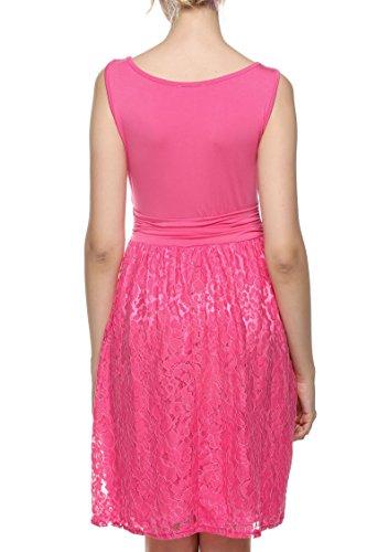 ACEVOG Damen Elegant Spitzenkleid Sommerkleid Cocktailkleid Brautjungfernkleid Knielang Ärmellos A Rosa Rot