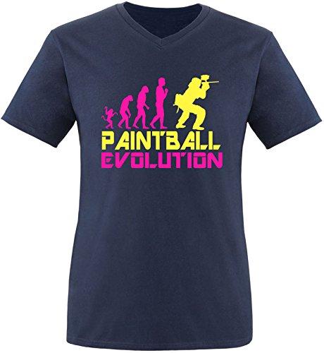 EZYshirt® Paintball Evolution Herren V-Neck T-Shirt Navy/Pink/Gelb
