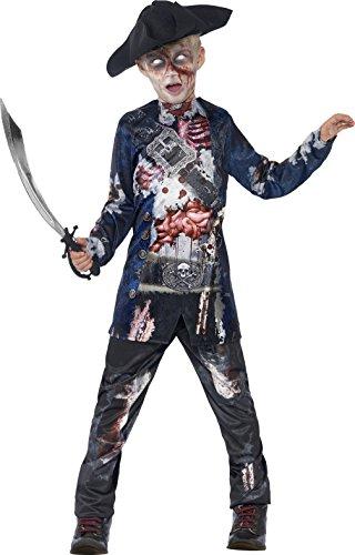 Jungs Kostüm Halloween 2 (Smiffys Kinder Jolly Rotten Pirat, Top und Hose mit Sublimationsaufdruck und Hut, Größe: S,)