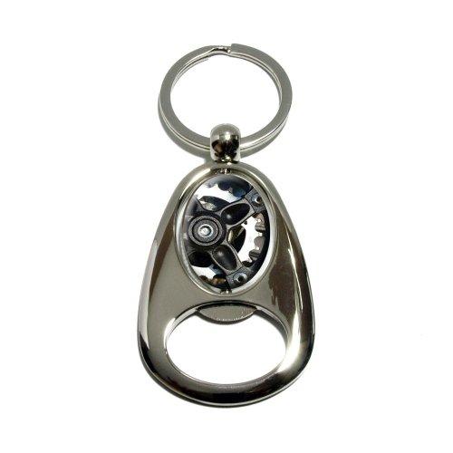 –verchromtem Metall Spinning Oval Design Flaschenöffner Schlüsselanhänger Ring (Spinning Gear)