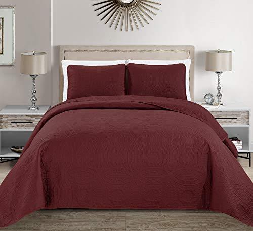 Linen Plus Tagesdecke/Übergröße, mit Prägung, Weiß Full/Queen burgunderfarben