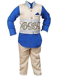 ahhaaaa's Boys Kurta, Pant with Waistcoat (BLU106-32_Blue::White_7-8 Years)