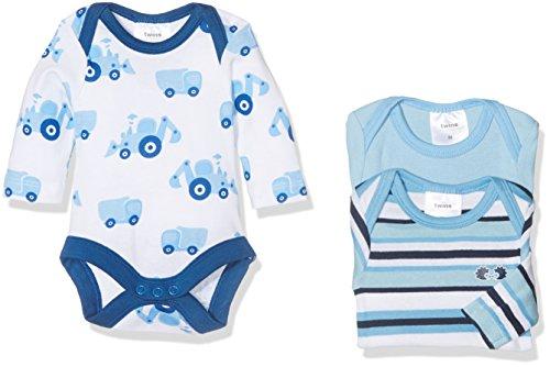 Twins Baby-Jungen Body langarm Bulldozer, 3er Pack, Blau (Marine 3011), 56
