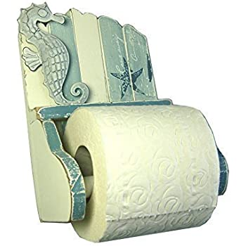 Nautical Seaside Woooden Toilet Roll Holder ZY114 Blue /& White