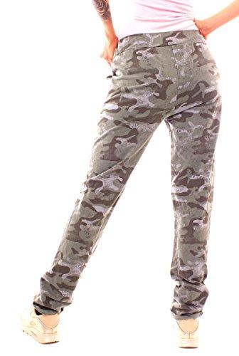 Easy Young Fashion Damen Sweathose Camouflage Floral Khaki