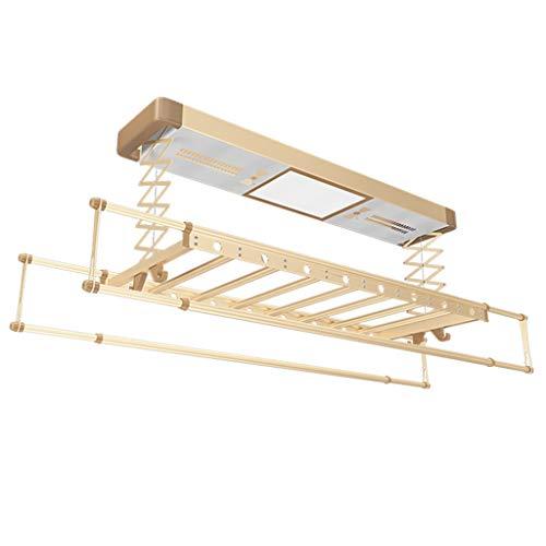 Romx stendibiancheria pieghevole asciugabiancheria pieghevole a scomparsa stendibiancheria a soffitto con telecomando, disinfezione, asciugatura ad aria calda, funzione di illuminazione a led