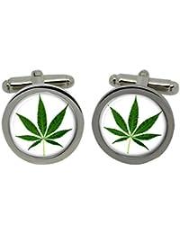 Cannabis Leaf Männer-Gemelos con cromo-regalo