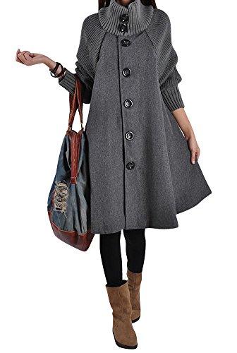 Donna waterfall lunga cappotto di lana blended invernale giacca cappotti a maniche lunghe s grigio