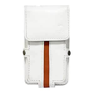 Jo Jo A6 Nillofer Series Leather Pouch Holster Case For Nokia C2 05 White Orange