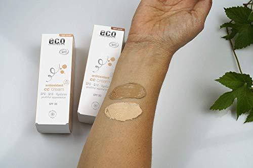 eco cosmetics Bio CC Cream, Tagescreme getönt hell mit OPC, Q10 und Hyaluronsäure, vegane Anti Faltencreme, LSF 50, 1x 50ml