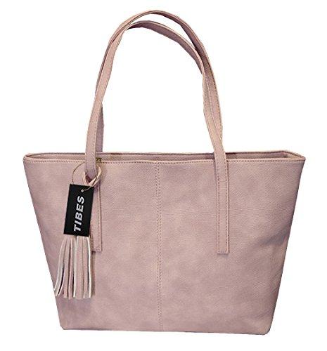 Tibes Damen PU lederne Handtaschen tasche Rosa (Rosa Leder Taschen)