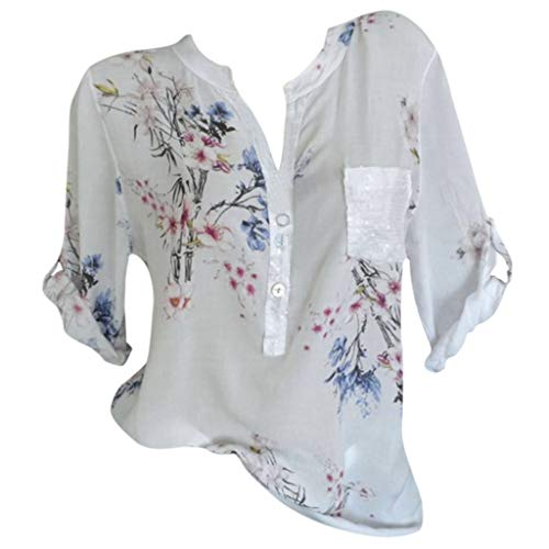 Kviklo Deman Plus Size Shirt Polo Flower Geblümt Drucked 8-18 Sommer Beiläufige Lose Einstellbare Ärmel Knopf Bluse(M(38),Weiß) -