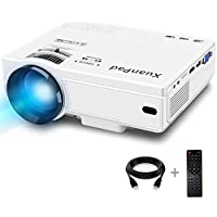XuanPad Mini Projecteur 2400 Lumens Vidéoprojecteur Portable Retroprojecteur, 55000 Heures Multimédia Home Cinéma Projecteur, Compatible avec Amazon Fire TV Stick, Full HD 1080 P HDMI, VGA, USB, AV, ordinateur portable, iphone, Android Smartphone …