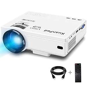 XuanPad Mini Projecteur 2400 Lumens Vidéoprojecteur Portable Retroprojecteur,Multimédia Home Cinéma Full HD Pordinateur