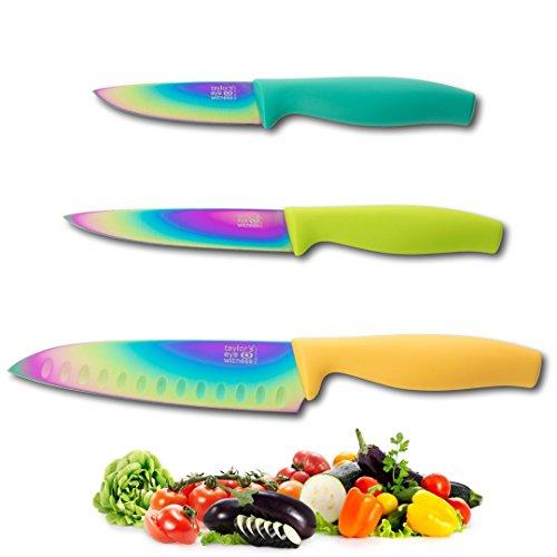 Irisierend Rainbow Farbige Messer-Set???Full Range von Gr??en/Typen: Sch?lmesser, alle Zweck, Santoku, Chef, Brot. Schnitzereien von Taylors Eye Witness - Iridescent 3pc Knife Set Blue Tomato Knife