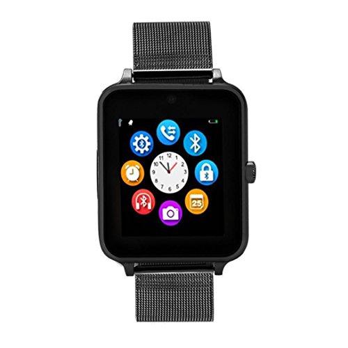 Huhu833 Bluetooth Smartwatch, Z60 Plus Smartwatch Schrittzähler Sitzende Erinnerung Schlaf Monitor Remote Kamera für iPhone IOS und Android Smartphones (Schwarz)