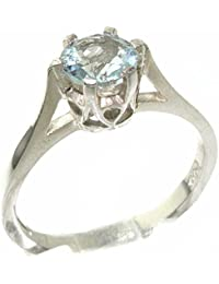 High Quality 925 Solid Sterling Silver Genuine Natural Aquamarine Solitaire Ring