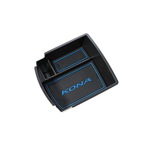 RUIYA Central Console Armlehne Box angepasst für 2018 Hyundai Kona(Benzin- und Dieselmodell), Aufbewahrungsbox Console Organizer Insert Tray, Autozubehör (Schwarz und blau) (Console Box)