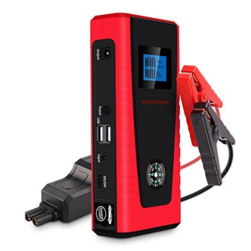 Preisvergleich Produktbild Auto Starthilfe 600A 12000mAh Jump Starter,  PUSHIDUN Starthilfe Powerbank(bis zu 5.0L Benzin,  2.0L Diesel)12V Autobatterie Anlasser,  Akku Starthilfe mit Dual USB Ausgänge,  LED Taschenlampe
