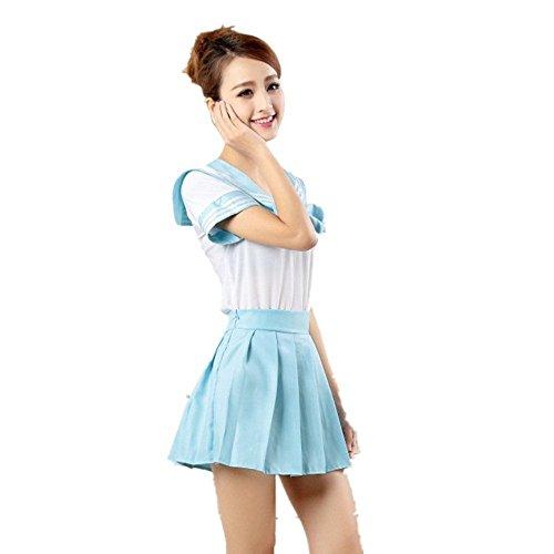 Mystery&Melody Japanische Uniform Schule Mädchen Anime Uniform Outfit Sailor Cosplay Kleider Dessous Set Halloween Sexy Kostüm (Blue, ()