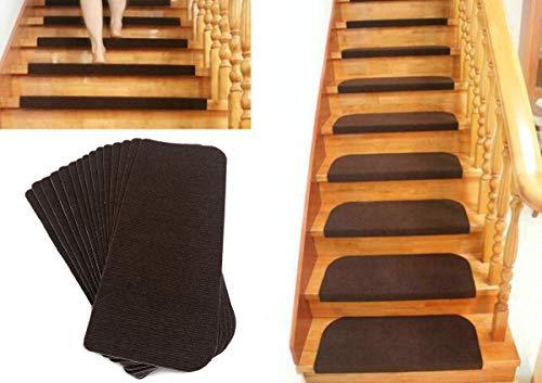 TOUCHFIVE Lot de 15pcs marchettes d'escalier Tapis de Marche d'escalier ProStair Peut être coupé - amortissantes et antidérapantes (Café, 45 * 20cm)