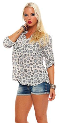 ZARMEXX beau t-shirt à manches longues Viskosebluse motif tunique mandala blouse dété en forme légère à manches longues chemise Fischer régulière Beige