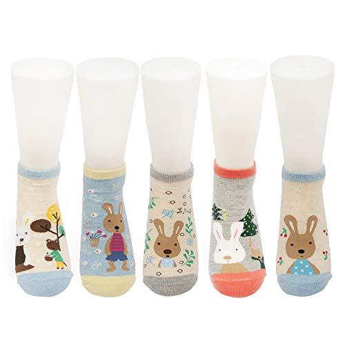 Conysan Witzig Tier Socken für Damen,Lustiger Tiere Malerei Kurz Lässige Baumwollsocken für Mädchen,5 Paar (Kaninchen) -