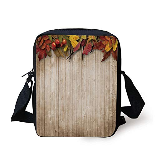 Fall Decor,Autumn Leaves and Berries Border on Vintage Wooden Background Botanical Vivid,Multicolor Print Kids Crossbody Messenger Bag Purse Leaf Border