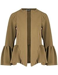 01359f98606df Womens Bell Sleeve Open Front Office Coat Blazer Jacket Top