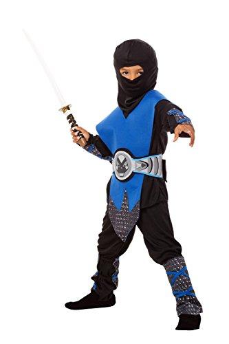 Ninja Kostüm Kinder blau - komplettes 6-teiliges Ninja Kostüm für Jungen in blau-schwarz (134/140)