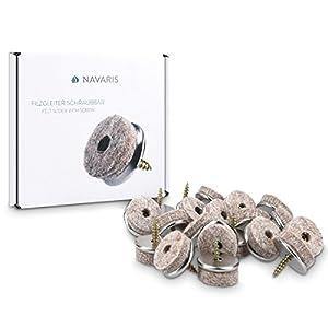 20x Navaris Filzgleiter mit Schraube Stuhlgleiter - Bodenschutz Gleiter 25mm - Schutz für Möbel Stühle Parkett Laminat - Filz und Metall - rund