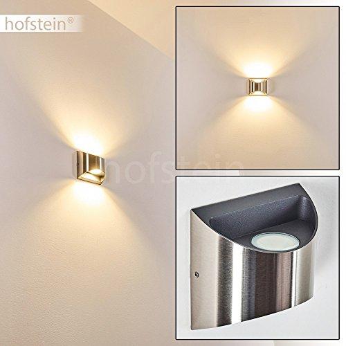 LED Außenwandleuchte VANO – moderner Up/Down Wandspot Fassade Eigenheim – halbrunde Außenleuchte für die Veranda – Terrassen-Lampe – Hoflampe aus Metall in Nickel matt – 3000 Kelvin