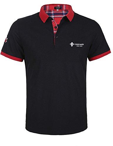 Wixens Herren Poloshirt Kurzarm Einfarbig Sommer T-Shirt Men's Polo Shirt(Schwarz,M) - Volle Brust Logo T-shirt