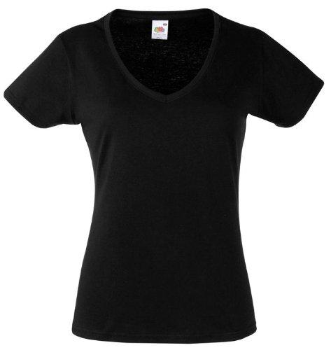 Damen V-Ausschnitt Kurzarm T-Shirt Lady-Fit V-Neck Shirt verschiedene Farben und Größen - Shirtarena Bündel M,Schwarz