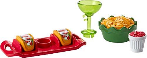 Mattel-barbie Original Wohnaccessoires (FHY66 - Taco Set - Tablett mit Tacos, Schale mit Nachos, Becher mit Salsa und Cocktailglas)