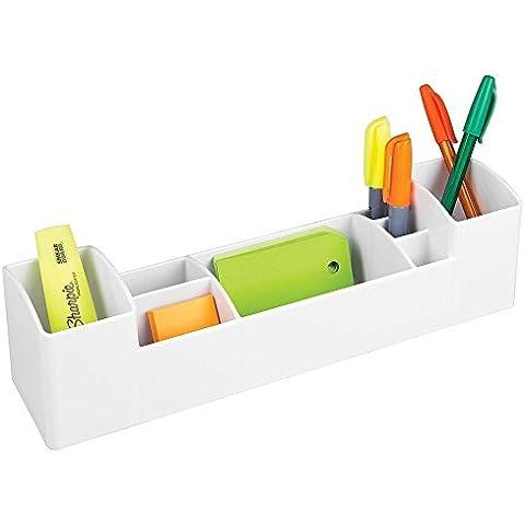 mDesign - Organizador de escritorio y oficina - 8 compartimientos - Blanco