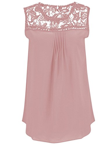 Damen Beiläufige Tops Sommer Lace Bluse Spliced Chiffon Weste Ärmellos Blusen Tank (XL, Rosa)