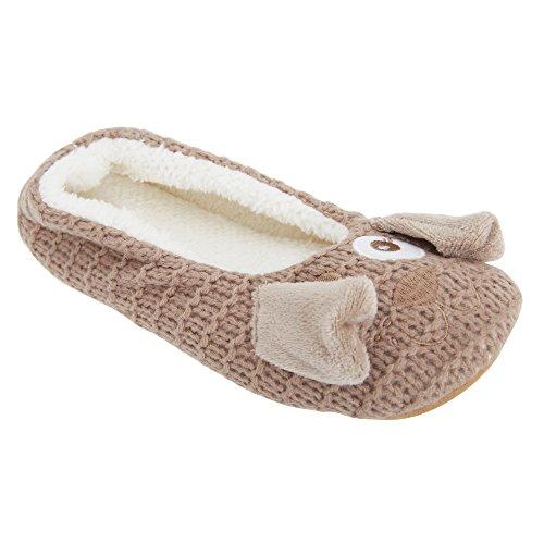 Pantofole a forma di animaletto - Donna Marrone
