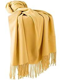 3e827bc95350 Dolamen Unisex Femme Echarpe Foulards avec des glands, Femme Léger et doux  luxueux Vintage Hiver La Châles Etoles écharpe pour…