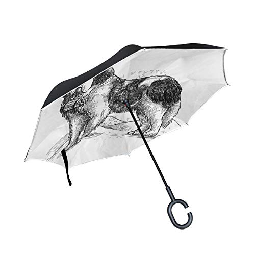 XiangHeFu Double Layer Inverted Reverse Umbrellas Tier Saint Bernard Cute Dog Folding Winddicht UV-Schutz Big Straight für Auto mit C-förmigen Griff -