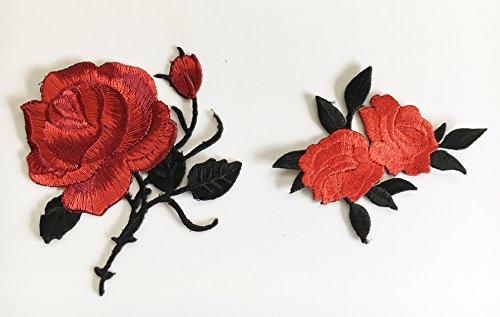 Patch Rosen Blumen 2 Stück Aufnäher Kleidung Patch P219 (Stuck-patch)