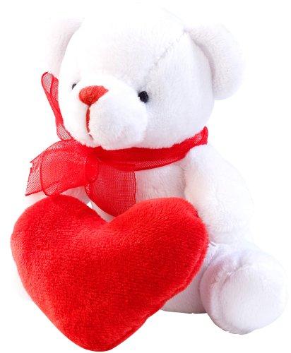 Preisvergleich Produktbild PEARL Romantisches Schmuse-Bärchen in Herzchen-Tasche
