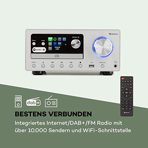 auna Connect • Kompaktanlage • HiFi System • Stereoanlage • Musikanlage • Internet / DAB+/ FM Radio • 80 W max. • CD-Player • USB-Port • Bluetooth • Spotify Connect • Infrarot-Fernbedienung • Silber