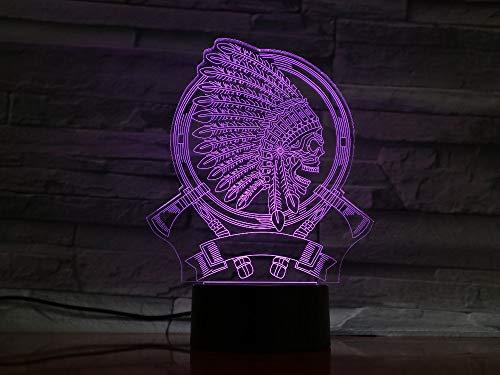 3d Nachtlicht Kreatives Geschenk 3D Indischen Kopfschmuck Schädel Form Leuchte Vision USB Lampara Led Schreibtischlampe 7 Farben Ändern Schlaf Nachtlicht schwarze ()