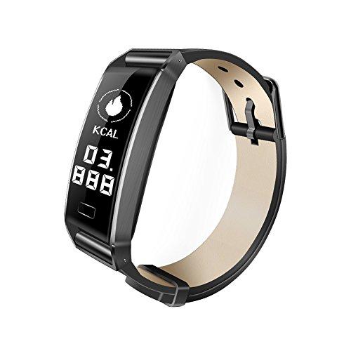 jEZmiSy, Fitness Armband, Sport Smartwatch, Wasserdicht, Blautooth, Echtzeit-Herzfrequenzmesser, für Android 4.4 / iOS 8.0 und höher - schwarz Frame - Faux Leder-rahmen